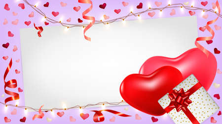 Valentines day background with pink and red hearts, gifts box, shining garlands, tinsel. Cute romantic composition for greeting card, flyer, banner, wedding invitation