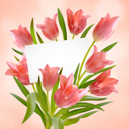 Bouquet of realistic tulips with greeting card on pink background. Paper card in bright beautiful bouquet of tulips flowers and leaves. Postcard with space for text. Vector illustration