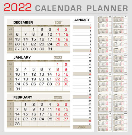 Calendar planner template 2022. Week start from Monday. 3 month calendar on page, with right stripe calender of the topical month. Ready for print. Vector Illustration