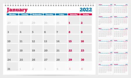 Calendar 2022 planner template. Week Starts on Monday. Set of 12 Months. Vector Illustration Vetores