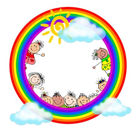 kiddies: Kiddies Art - Kids in Rainbow with Sun and Clouds