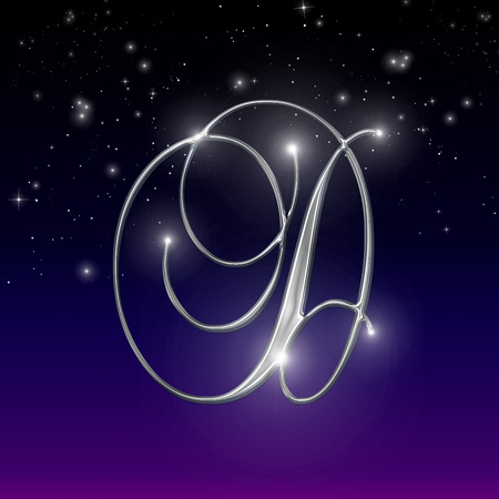 starry night: Shiny Chrome Alphabet Numbers and Symbols on a Starry Night Background Stock Photo