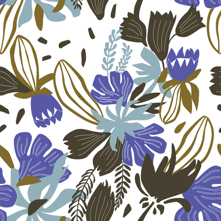 Seamless vector floral pattern for textile, cards or any background.