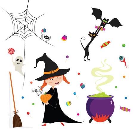 Halloween card in the cartoon fun style with some characters and elements.