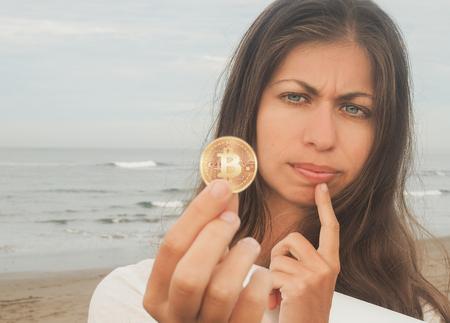 Bitcoin Girl on the beach