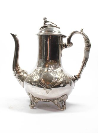 Vintage Antique Coffee or Tea Pot Kettle on White Background Stockfoto