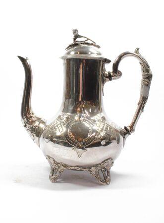 Vintage Antique Coffee or Tea Pot Kettle on White Background Archivio Fotografico