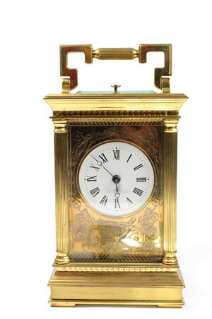 Antique Vintage Clock Pocket Watch on White Background Zdjęcie Seryjne
