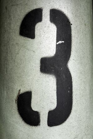 Written Wording in Distressed State Typography Found Number Three 3