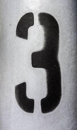 Written Wording in Distressed State Typography Found Number Three 3 Zdjęcie Seryjne