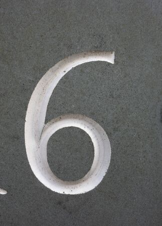 Written Wording in Distressed State Typography Found Number 6 Six