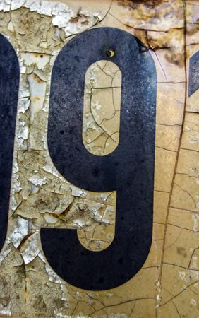 Written Wording in Distressed State Typography Found Number Nine 9