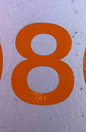 Written Wording in Distressed State Typography Found Number eight 8