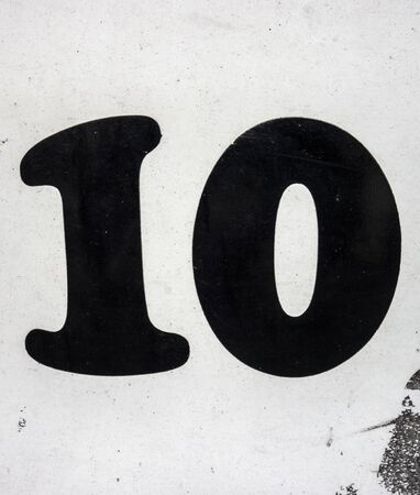 Written Wording in Distressed State Typography Found Number Ten 10