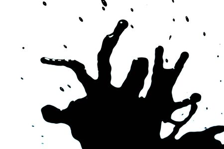 Black Ink Paint Splatter Drip on White Background