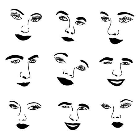 Illustration des traits du visage simples silhouette du visage humain Icon Set