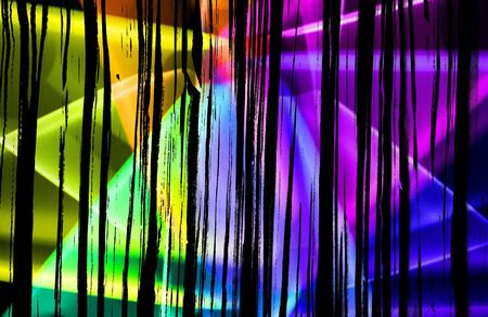 A Wild Retro Abstract Vibrant Neon Coours and Whirls With lines For Background