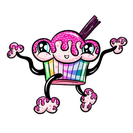 Cute Cartoon Cupcake Cake Muffin Character Illustration Vector
