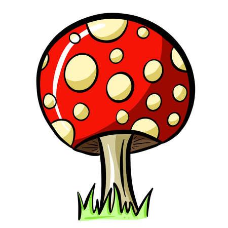 Fun Cartoon Mushroom Toadstool Character Vector Illustration Vecteurs