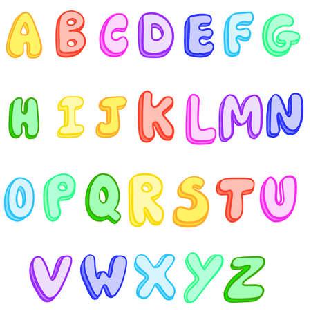 Bubble Colourful Hand Drawn Alphabet ABC Vector Illustration