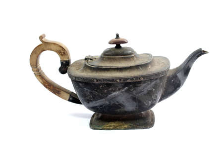 A Close up of Vintage Antique Teapot or Coffee Cup with White Background Standard-Bild