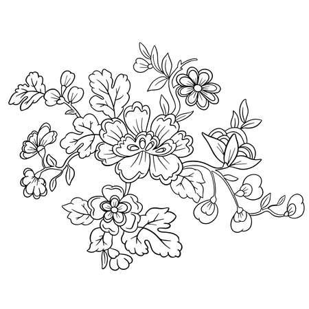 Vector Line Art Floral Flowers Tattoo Style for Valentines Vektorové ilustrace