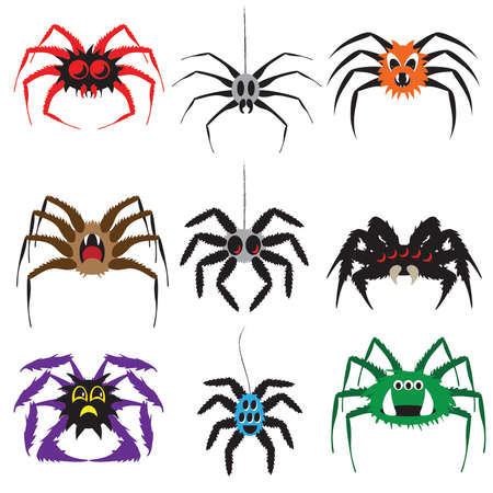 Cartoon Character Spiders A Collection of Nine Illustrations