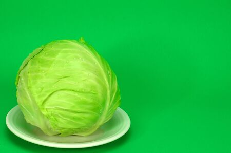 Cabbage On Bright Green Background With Space For Text