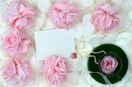 Roses And Tea With Jewelry Gift And Space For Your Message photo