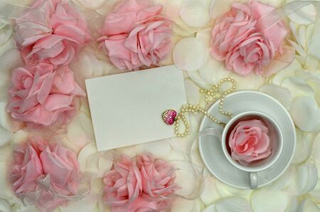 Pink Roses And Tea With Jewelry Gift And Space For Your Message Stock Photo