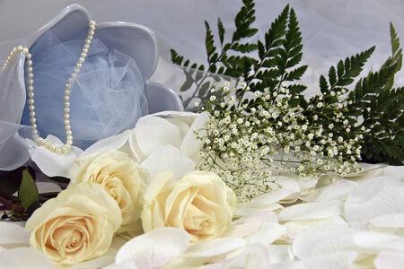 White roses with babys breath feminine gift