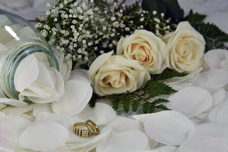 Gold Wedding Rings On White Rose Petals