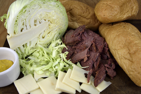 hoagie: Corned Beef with Swiss cheese Hoagie Sandwiches Stock Photo