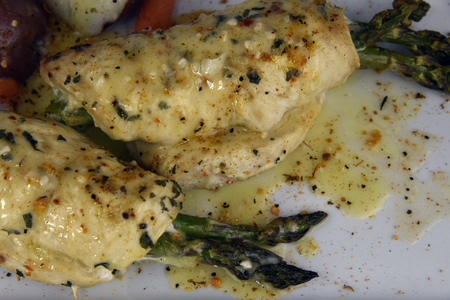 wine sauce: Chicken asparagus, provolone and white wine sauce