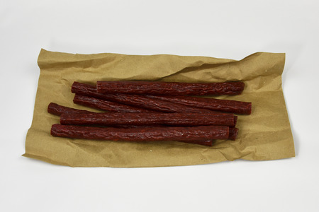Fresh smoked beef sticks from grass fed beef