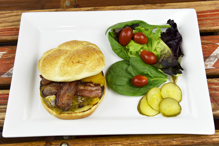 melted cheese: juicy burger with crispy bacon and melted cheese
