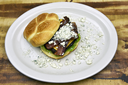Grass fed beef burger with bacon and blue cheese