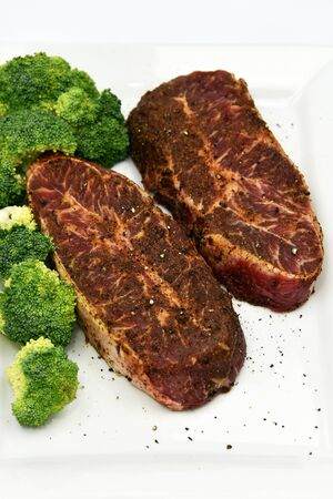 are fed: Raw grass fed beef steaks ready to cook
