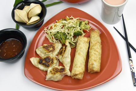 egg roll: Egg Roll, Rangoon and Stir-Fry Oriental Cuisine Stock Photo