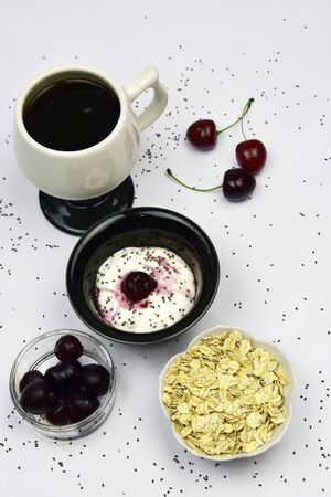 probiotic: Probiotic yogurt with cherries chia seeds and oatmeal Stock Photo