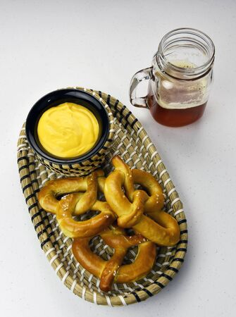 Hand-crafted red ale with homemade pretzel and cheese fondue