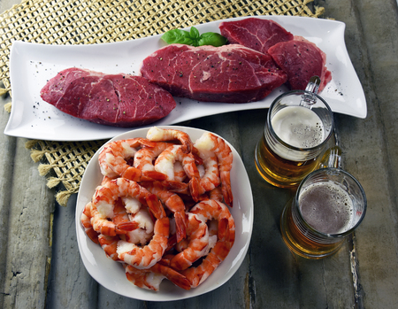 Fresh grass fed top sirloin steak with jumbo shrimp and hand crafted micro brew beer. Fathers Day Meal