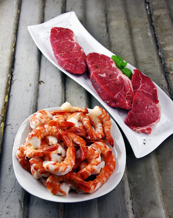 Top Sirloin Steak and Jumbo Shrimp Ready for the grill