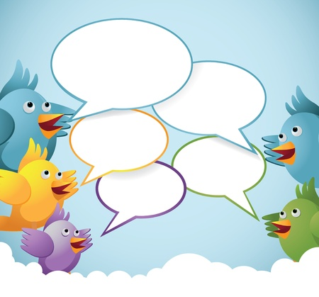 A flock of tweeting birds with Speech bubbles