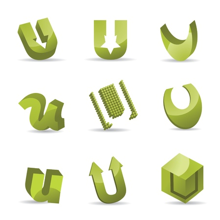 Set of 3D letter U icons