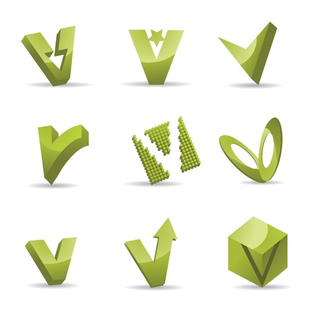 Set of 3D letter V icons