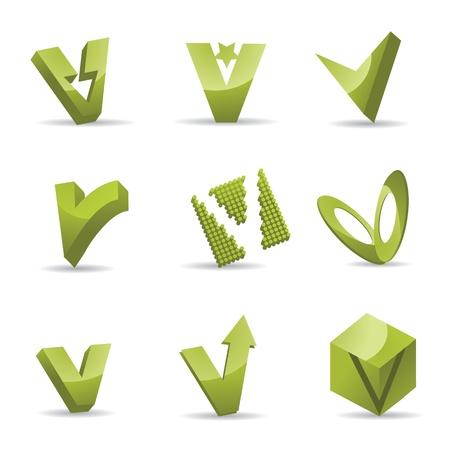 v alphabet: Set of 3D letter V icons