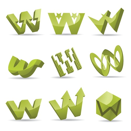 Set of 3D letter W icons