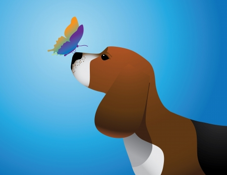 Beagle with Butterfly