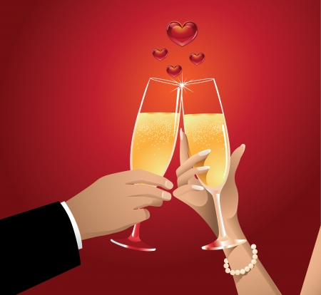 Romantic Champagne Toast with Heart Bubbles